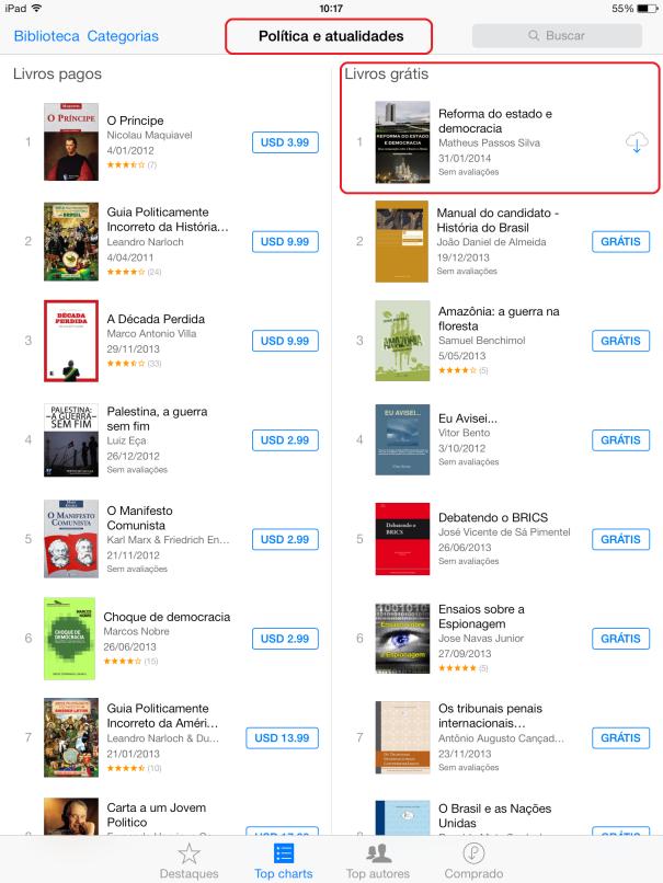 """Nº 1 em downloads na iBooks Store na categoria """"Política e atualidades"""""""