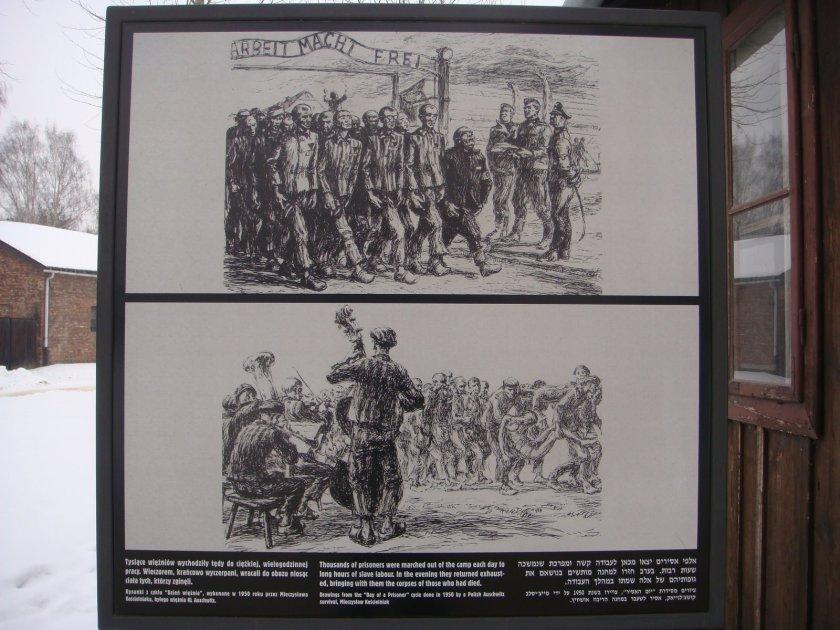 """Representação da """"banda"""" que tocava em """"homenagem"""" aos recém-chegados em Auschwitz I"""