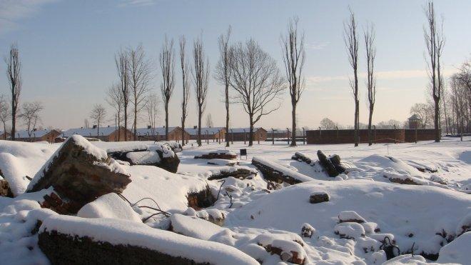 Um dos crematórios de Birkenau. Ao perceberem a aproximação dos soviéticos, os nazistas explodiram todos os crematórios, tentando encobrir os crimes cometidos no campo de extermínio
